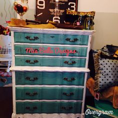 French provincial chest of drawers painted in shabby paints Snow White and dynasty blue!