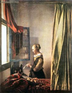 Vermeer - Ragazza che legge una lettera davanti ad una finestra aperta.