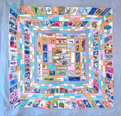 HERMES Correspondance by Cathy Latham Vintage Silk Scarf Authentic Made in  France 3e43b380bb2