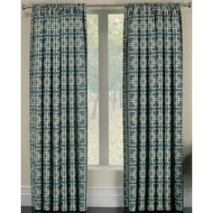 allen   roth�Callendale 84-in L Light Filtering Geometric Blue Rod Pocket Window Curtain Panel
