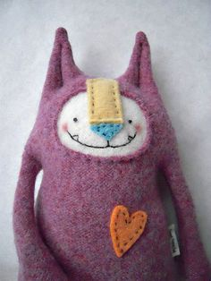 Cat Stuffed Animal Heather Wool Upcycled by sweetpoppycat on Etsy