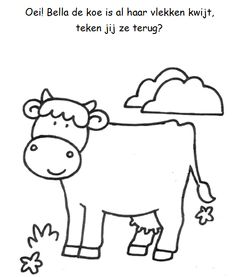 Vlekken tekenen koe Summer Daycare, Farm Animal Coloring Pages, Farm Unit, Animal Crafts, Nursery Rhymes, Farm Animals, Kids Learning, Activities For Kids, Art For Kids