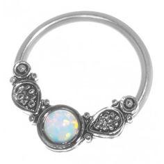 Tribal Imitation Opal Captive Ring-20g-18g-16g-14g Cartilage Earring-Nipple-Tragus-Septum Jewelry