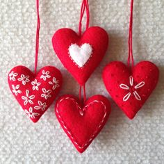 Red and white embroidered felt heart Valentine by Lucismiles, $13.00