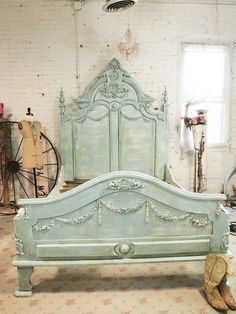 Shop for Etsy French Bed Painted Cottage Shabby Chic French Aqua Romantic King / Queen Bed at ShopStyle. Shabby Chic Furniture, Shabby Chic Decor, Vintage Furniture, Painted Furniture, French Bed, French Chic, Painted Cottage, Home And Deco, French Decor
