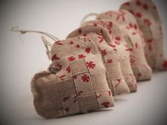 burlap and linen heart