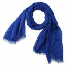 Corciova® Large Pure-color Cotton Linen Scarf/Shawl with Tassel Edges One Size Blue