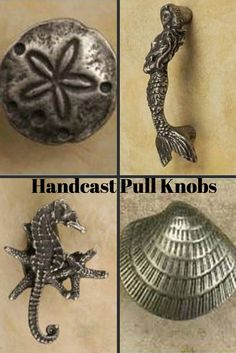 Our coastal pull drawer knobs are the perfect nautical accent for kitchen cupboards, drawer pulls, cabinet doors, dressers or medicine cabinet. They are hand cast from 100% lead free pewter. Pull knobs come in several nautical designs: sea turtle, sand dollar, starfish, nautilus, mermaid, clam shell, nautical braid knot. From $11.95. www.islandcreekdesigns.com