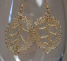 Beadwoven Golden Leaf Earrings. $18.00, via Etsy.
