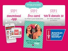 Give BACK this holiday season by REPINNING to spread the word! Each FREE card sent #maurices will donate $1.00 to the American Cancer Society {up to $50,000} It's FREE and it's EASY!