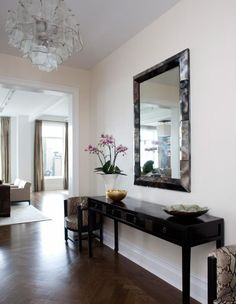 Home Decor, Cherringbone Wood Floors Contemporary Entrance Foyer And Mirrored Modern Entryway Table That Look So Neat And Elegant For Your Small Space With Big Mirror With Cute Frame Also Pendant Light ~ Some Modern Entryway Table Designs That Appropriate For Your Narrow Space