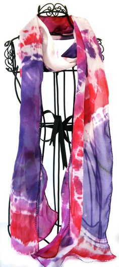Handmade Silk Scarf with tie dye