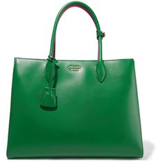 Prada Bibliothèque large color-block leather tote ($2,510) ❤ liked on Polyvore featuring bags, handbags, tote bags, green leather purse, leather tote bags, prada tote bag, leather handbags and tote handbags