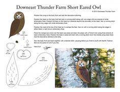 short-earred-owl Felt Animal Patterns, Bird Patterns, Stuffed Animal Patterns, Craft Patterns, Bird Template, Short Eared Owl, Bird Applique, Bird Quilt, Bird Crafts