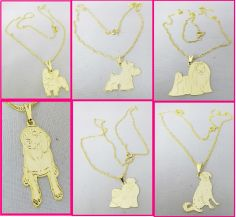 Semi joias femininas com pingentes de cães de raças, gatos e vários animais de estimação.  Colar folheado a ouro, 45cm, com Pingente de diversas Raças