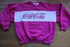 vintage COCA COLA Sweatshirt Pink with raised ink by oldtimeytime