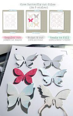 free Butterfly Silhouette .studio cut files (in 3 styles)