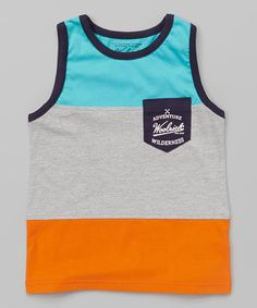Loving this Orange & Gray Color Block Tank Top - Toddler & Boys on #zulily! #zulilyfinds