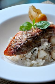 Pan seared salmon with Japanese style risotto