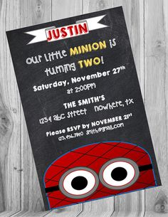 Check out this item in my Etsy shop https://www.etsy.com/listing/245816030/spiderman-minion-invite-chalkboard