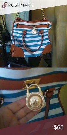 44573ad727 Mk Hamilton bag Blue and white striped hamilton handbag with chain strap