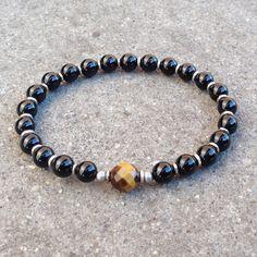Patience and abundance, onyx and tiger's eye guru bead mala bracelet – Lovepray jewelry