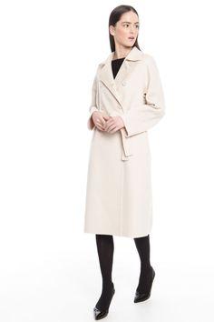 Cappotto in drap di lana, avorio - Diffusione Tessile