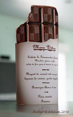Notre mariage sur le thème de la gourmandise ( chocolat et ivoire ) - Menu