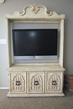 Gorgeous China Cabinet turned into TV Entertainment Center via Classy Clutter
