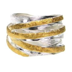 Gold and silver Crossover Ring - Multi band ring
