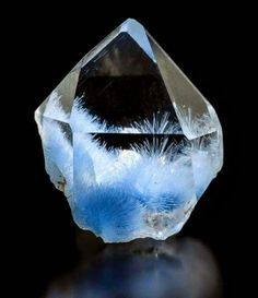 Fabulous Quartz with Dumortierite inclusions from Brazil. Photo Timothy Paul. via. Rhythm of Gems  Amazing Geologist