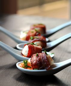 Bacon Wrapped Scallops with Cajun Cream Sauce | http://cookswithcocktails.com/bacon-wrapped-scallops-with-cajun-cream-sauce/