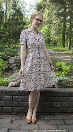 Sew Over It Vintage Shirt Dress I made, front view.