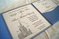 Disney Cinderella Fairytale castle pocketfold wedding invitation