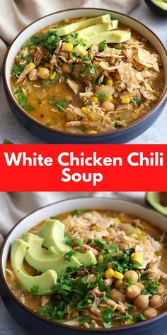 Traditional chili recipes have a tomato base, beans like kidney beans and/or black beans, and typically have beef. White chili recipes are as an alternative made with white beans (or in this example, chickpeas), typically bird and moderate green chiles. The base is normally from a broth rather than tomatoes, and on occasion even consist of a cream or bitter cream. Best Soup Recipes, Healthy Soup Recipes, Chili Recipes, White Chili, White Chicken Chili, White Beans, Black Beans, Easy Vegan Soup, Kidney Beans