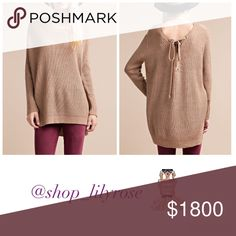 "*coming soon* the ""Emily"" sweater The ""Emily"" sweater is a tan long sleeved knit sweater with a criss cross tie up detail in the back. Perfect piece to transition you from fall through spring! Sweaters"