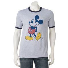 Men's Mickey Mouse Ringer Tee, Brt Purple