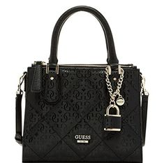 Product Features G-shine debossed faux leather; Silver-tone hardware Triple compartment design with 2 top zip compartments and center compartment with bridge Popular Handbags, Guess Handbags, Black Handbags, Cross Body Handbags, Purses And Handbags, Guess Purses, Guess Bags, Cute Purses, Cheap Purses