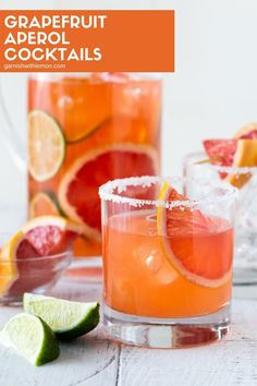 Light and refreshing, these Grapefruit Aperol Cocktails taste similar to grapefruit margaritas with a bit of an edge. Perfect for happy hour! Grapefruit Cocktail, Cocktail Garnish, Cocktail Drinks, Fun Drinks, Beverages, Cocktail Recipes Aperol, Cocktail Ideas, Purple Cocktails, Spring Cocktails