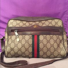 GUCCI authentic signature bag final price This authentic Gucci signature bag. I sold strap friends to pocket and inside the pocket. This is previously loved and show signs of wear as pictured just lowered the price from $325!! Gucci Bags