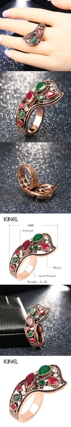 luxury turkish jewelry fashion color gold dubai hot ring red resin wedding rings for women best