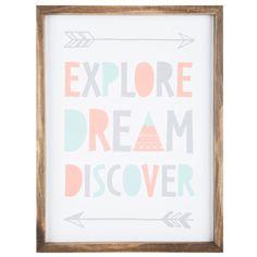 Explore Dream Discover MDF Wall Art