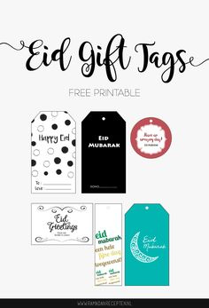 FREE PRINTABLE | Eid Gift Tags in 6 different designs | Ramadanrecepten.nl