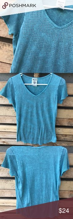 Blue short sleeve, bling with net type sleeves! NEOT Bought from a local boutique, very pretty, feminine and soft, blue/green short sleeve shirt size medium. 100% cotton. Like new condition. Smoke free, pet friendly 🐶😻 home. Vocal Tops Blouses