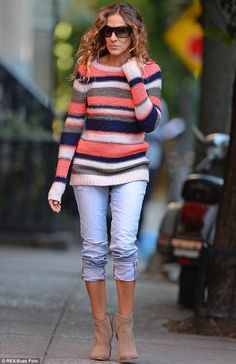 The fun is over: SJP walked home alone after dropping her children off to school