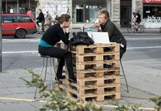 """In august 2009, Simon Hoegsberg spent a week, five hours a day on a busy street corner in Copenhagen giving """"free advice about everything + coffee"""" to passers-by."""