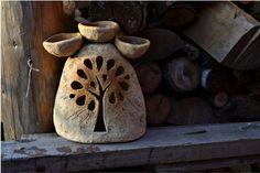Ceramic Lantern, Ceramic Light, Pottery Painting Designs, Pottery Designs, Ceramics Projects, Clay Projects, Ceramic Clay, Ceramic Pottery, Clay Fairy House