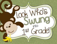 Look Who's Swung into School - Monkey Door Decor