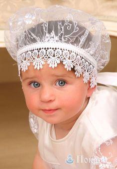 """$20 Baptismal beret """"Evangeline"""" of lace fabric. Headgear for baptism. Dresses for baptism. Baptismal shirts. Baptismal clothing. Kryzhma."""