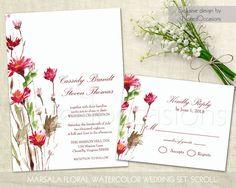 Marsala Floral Wedding Invitation Set Marsala by NotedOccasions